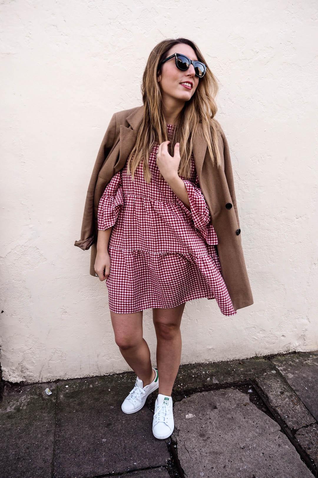 Zara gingham dress | Michael Kors satchel | Adidas white trainers | ASOS camel coat | Wolf & Stag