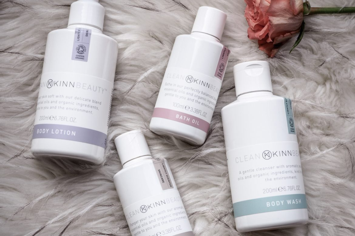 The KINN clean beauty range, including a body oil, bath oil, body lotion and body cleanser.