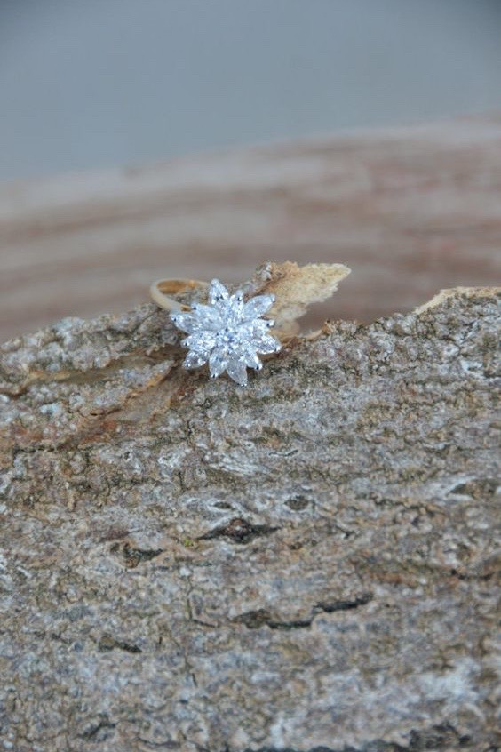 A snowflake cluster engagement ring with a gold band sits on a tree branch.