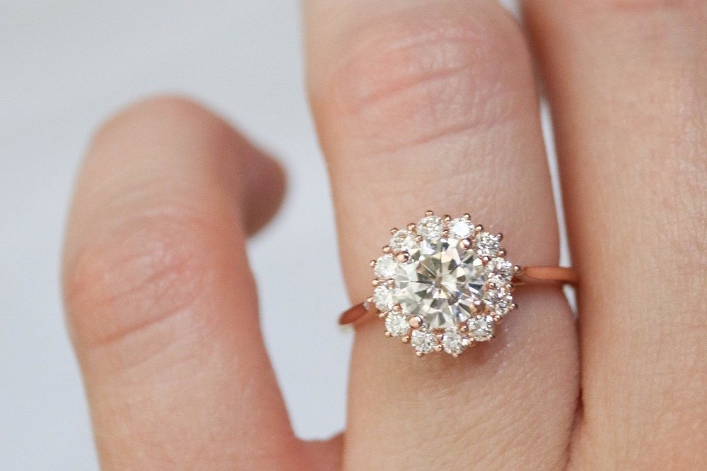A round cluster diamond engagement ring with rose gold bands sits on a finger
