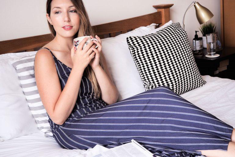 Blue Marmalade London Lauren Long Nightdress in Navy Stripe | Wolf & Stag